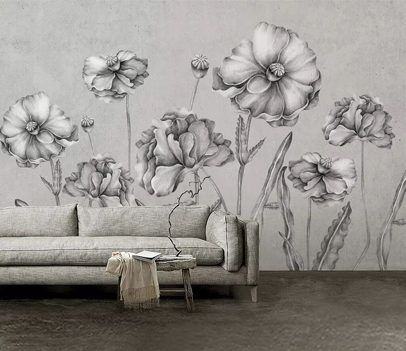 8d Abstract Hand Painted Wall Paper Mural 3D Black And