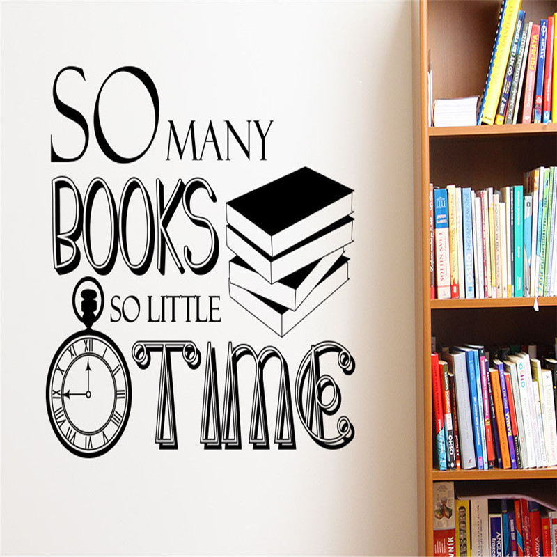 Home Decor SO Many Books So Little Time Wall Decal Vinyl Sticker Study Room Library Decoration Wallpaper