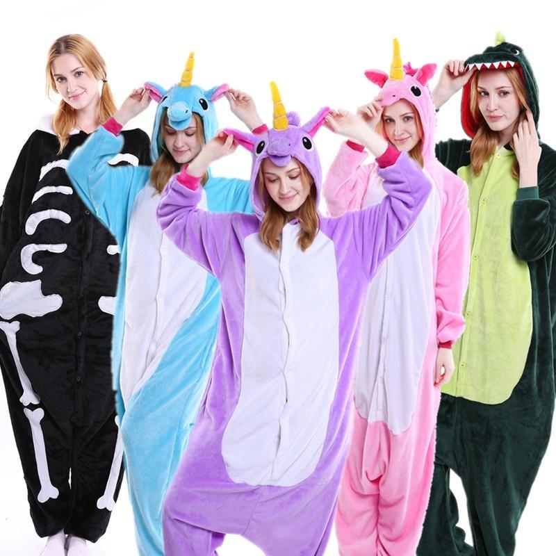 PSEEWE Unicorn Stitch Panda Unisex Flannel Pajamas Adults Anime Cosplay Costume Animal Onesies Sleepwear Hoodie For Women Men