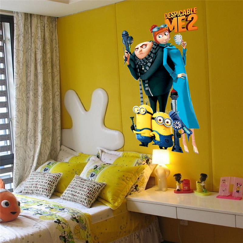 Lovely Minions Wall Stickers Kids Room Decoration Diy Pvc