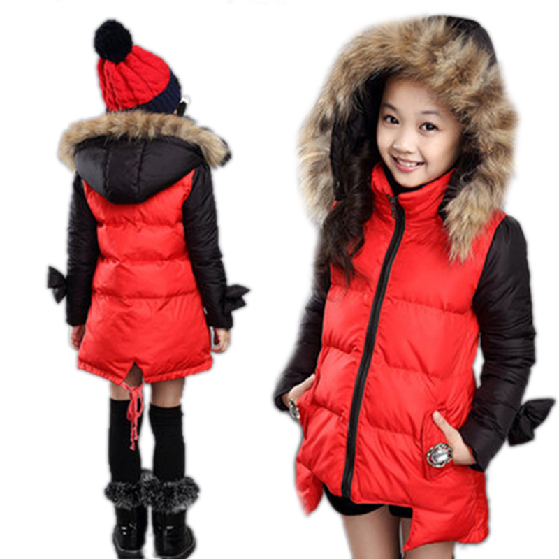 ФОТО 2017 Children Clothing Patchwork Girl Winter Coat Warm Cotton Padded Girls Winter Jackets Fur Collar Hooded Thicken Girl Outwear