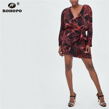 ROHOPO Autumn Long Sleeve Snake Straight Dress Red Tie Belted Tunic Female Red  Serpentine Vintage Sleeve Dress Clothe #XZ1870 все цены