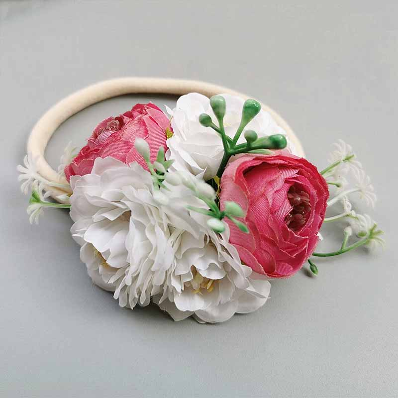 Hair Accessories sweet infant Headband Flower nylon hairband for little girls elastic fashion Floral Headwear wedding headdress in Hair Accessories from Mother Kids