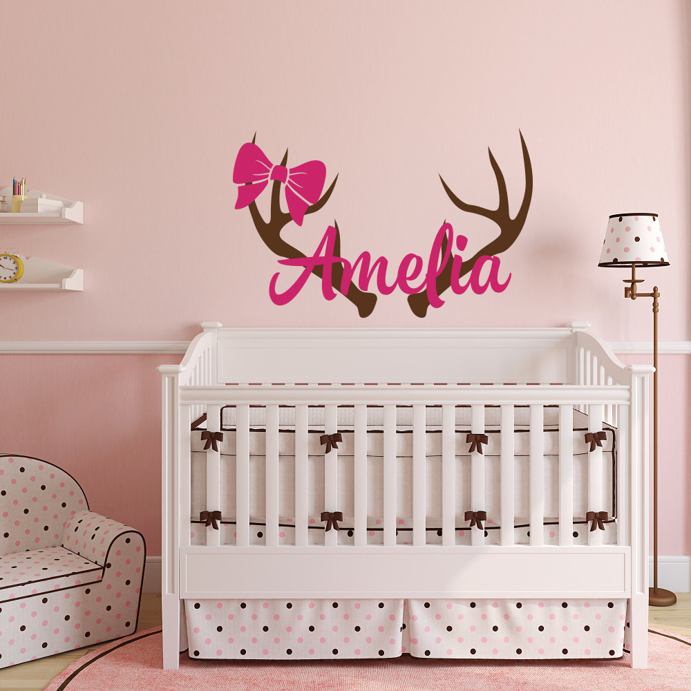Personalized name wall decal girls name wall sticker - Childrens bedroom wall stickers removable ...