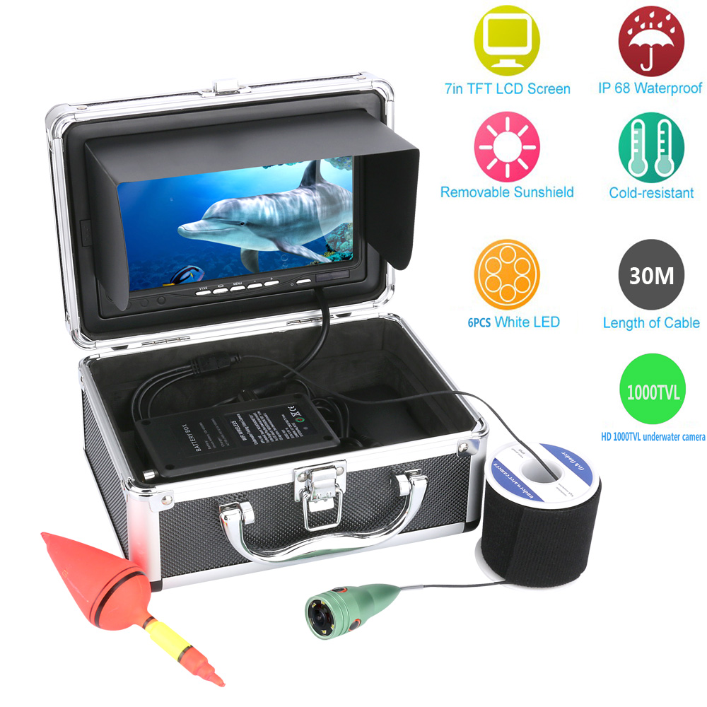 """30M 1000tvl Underwater Fishing Video Camera Kit 6 PCS LED Lights with7"""" Inch Color Monitor Video Fishing Camera Fish Finder"""