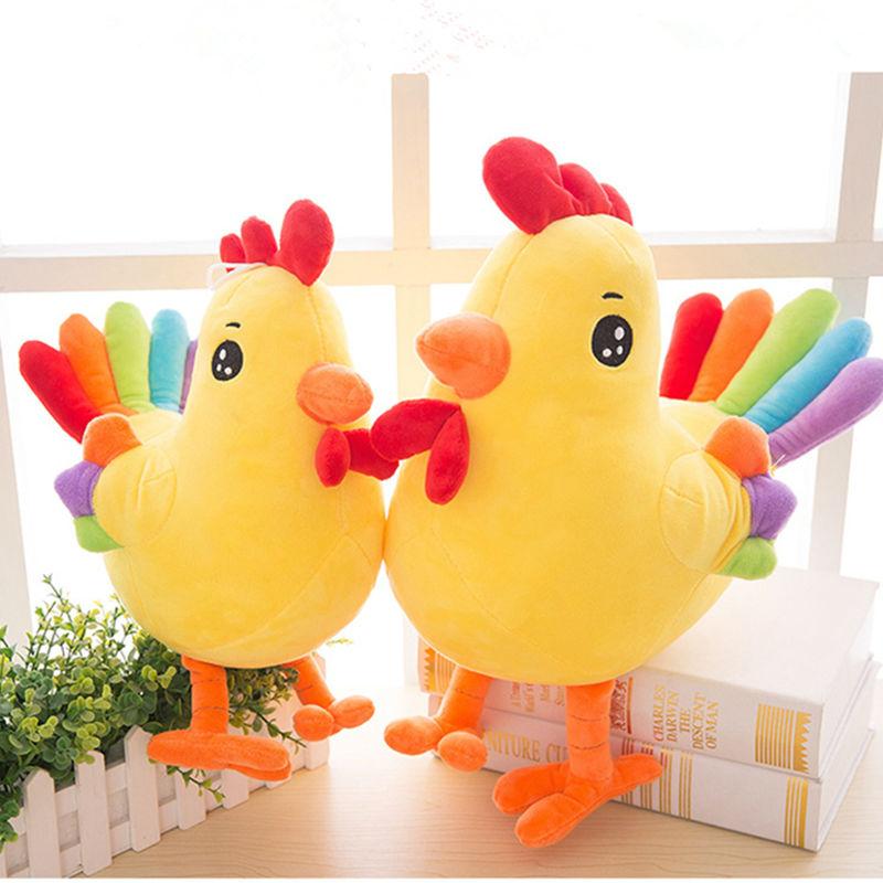 Цветна пилешка плюшена играчка Плюшена анимация Подарък за меки играчки Носете благоприятни за деца и възрастни притурки