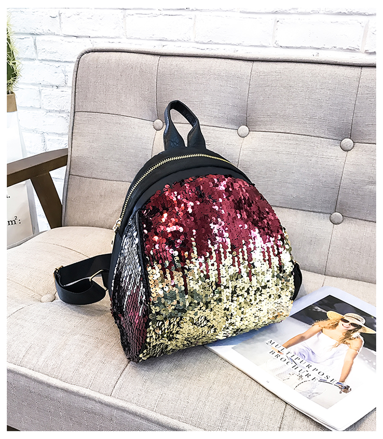 Backpacks women Korean mini 2018 new sequined shell fashion trend women go with small backpacks travel backpack 97