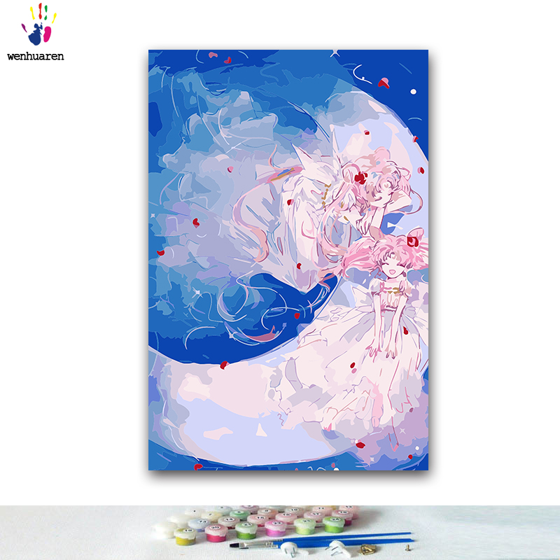 DIY Coloring Paint By Numbers Cartoon Anime Sailor Moon Paintings By Numbers With Kits 40x50 Framed