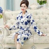 Cotton Robe For Sleep Plus Size L XXXL Women Autumn Long Sleeve Nightgown Loungewear Bathrobe Sexy Pijamas Feminino Inverno