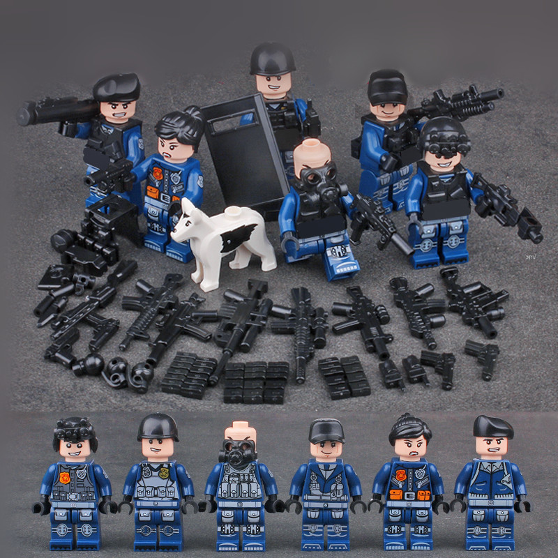 MILITARY SWAT Soldiers Army Navy Seals Team Building Blocks Bricks Figures Toys For Children Gifts Compatible With Lego xinlexin 317p 4in1 military boys blocks soldier war weapon cannon dog bricks building blocks sets swat classic toys for children