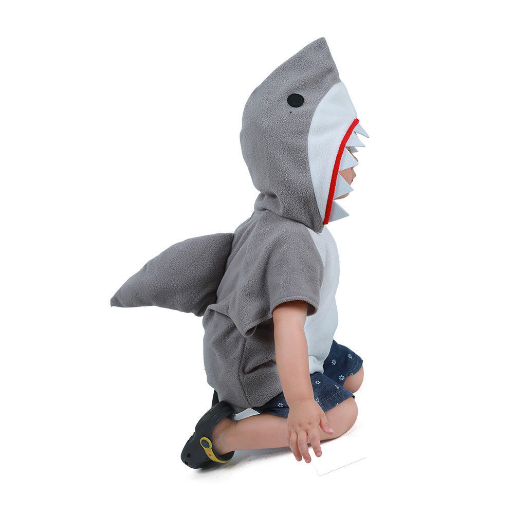 Image 2 - Eraspooky Cute Hooded Shark Cosplay Halloween Costume For Kids Children Animal Toddler Carnival Party Cartoon Fancy Dress Gifts