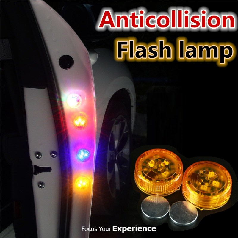 2PCs Wireless Magnetic LED Car Door Opening Warning Light Bulb Strobe Flash Waterproof Anti Rear-end Collision LED Safety Lamp