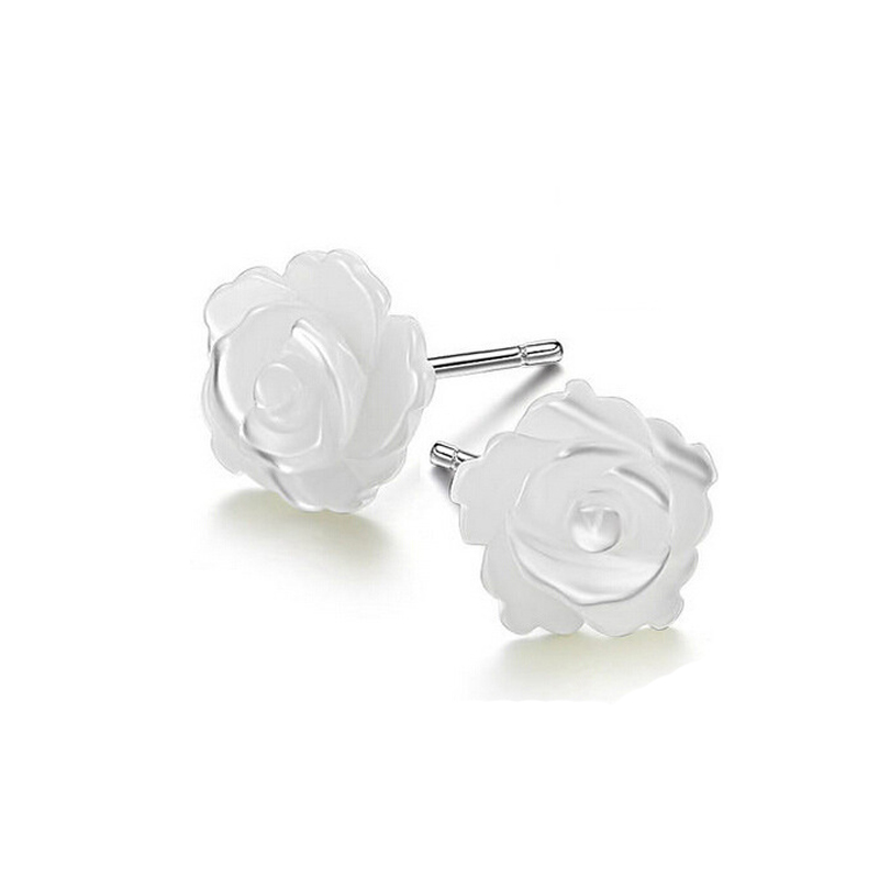 Women sterling silver jewelry earrings 925 sterling silver rose <font><b>fllower</b></font> shell stud earrings Brincos Pendientes de plata image