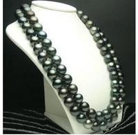 Для женщин подарок пресноводных Для женщин подарок Слово ювелирные изделия застежка 9 10 мм идеально черный Tahitian культивированный жемчуг Це