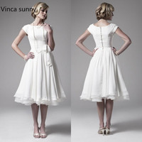 Best Selling 2016 Wedding Dresses Vintage 50s A Line Tea Length With Short Cap Sleeves Chiffon