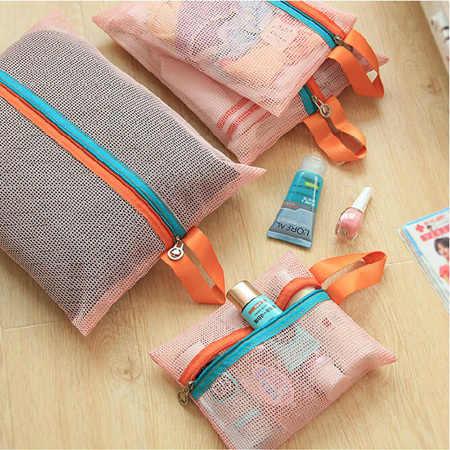 4 pçs/set Malha Organizador Saco de Viagem Unisex saco Comestic organizador Zipper Saco de Malha Bolsa De Viagem Saco de Armazenamento de Roupas