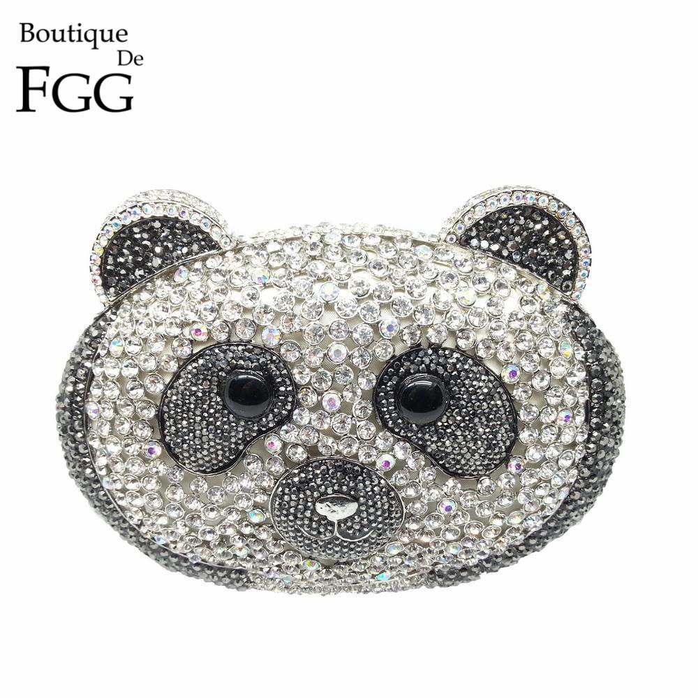 Boutique De FGG Dazzling Rhinestones 3D Panda Bear Evening Clutches Bag For Women Handbag Bridal Crystal Purse Wedding Clutch luxury crystal clutch handbag women evening bag wedding party purses banquet
