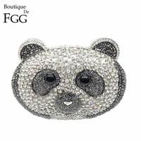 Boutique De FGG Dazzling Rihnestones Urso Panda Forma Embreagens Noite Saco Para As Mulheres Bolsa Bolsa Bolsa de Casamento De Cristal De Noiva Embreagem