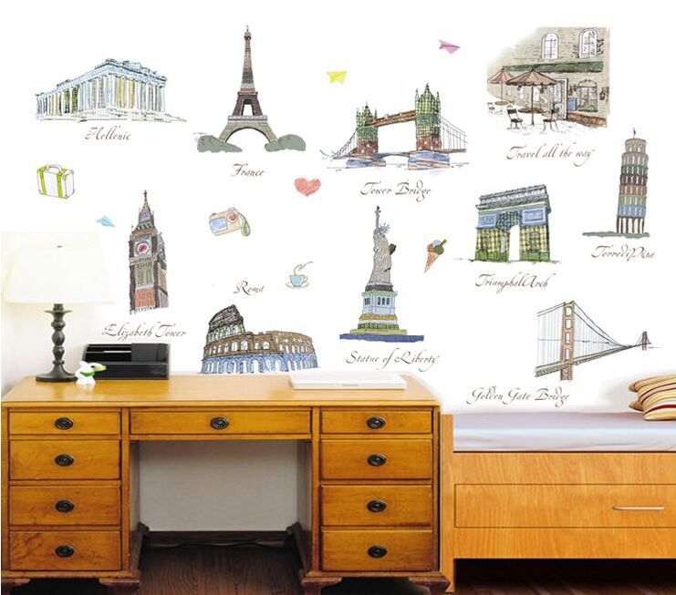 High Quality The World Famous Buildings DIY Removable Art Vinyl Wall Stickers Living Room Decor Mural Decal Wallpaper AY9090