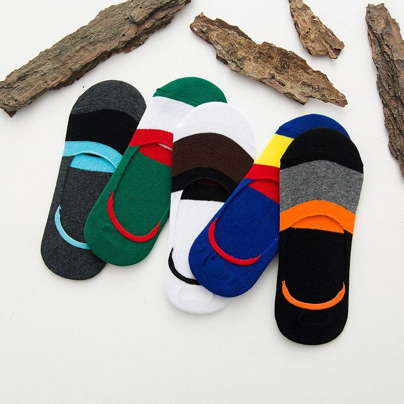 Summer new mens anti-slip socks Cotton wide striped silicone invisible men socks
