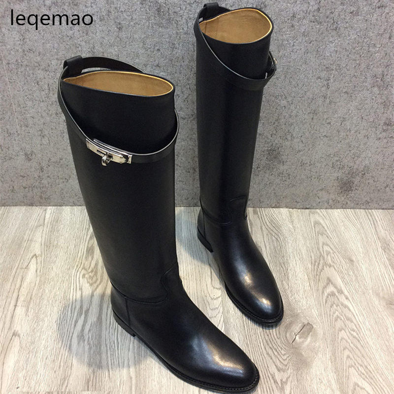 New Classics Real Leather Comfortable Women knee high buckle Buckle Square Heels boots Full Grain cow Leather Shoes Size 34-42