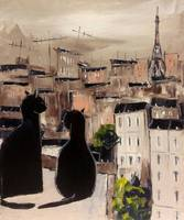 Contemporary Modern Abstract Wall Art Animal Painting Reproduction Black Cat And His Pretty On Paris Roofs
