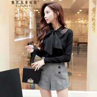 Dabuwawa Autumn Winter Bow Sweater Women New Long Sleeve Black Knitted Pullover Top Office lady Buttterfly Collar Korean Sweater