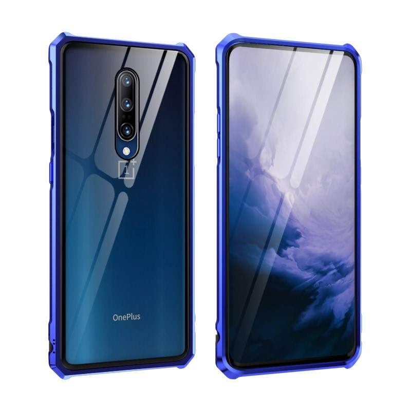 Transparent Tempered Glass For <font><b>Oneplus</b></font> 7 Pro Hard Back Cover Luxury Aluminum Metal Frame <font><b>Bumper</b></font> For <font><b>Oneplus</b></font> <font><b>6T</b></font> Phone <font><b>case</b></font> 1+7 image