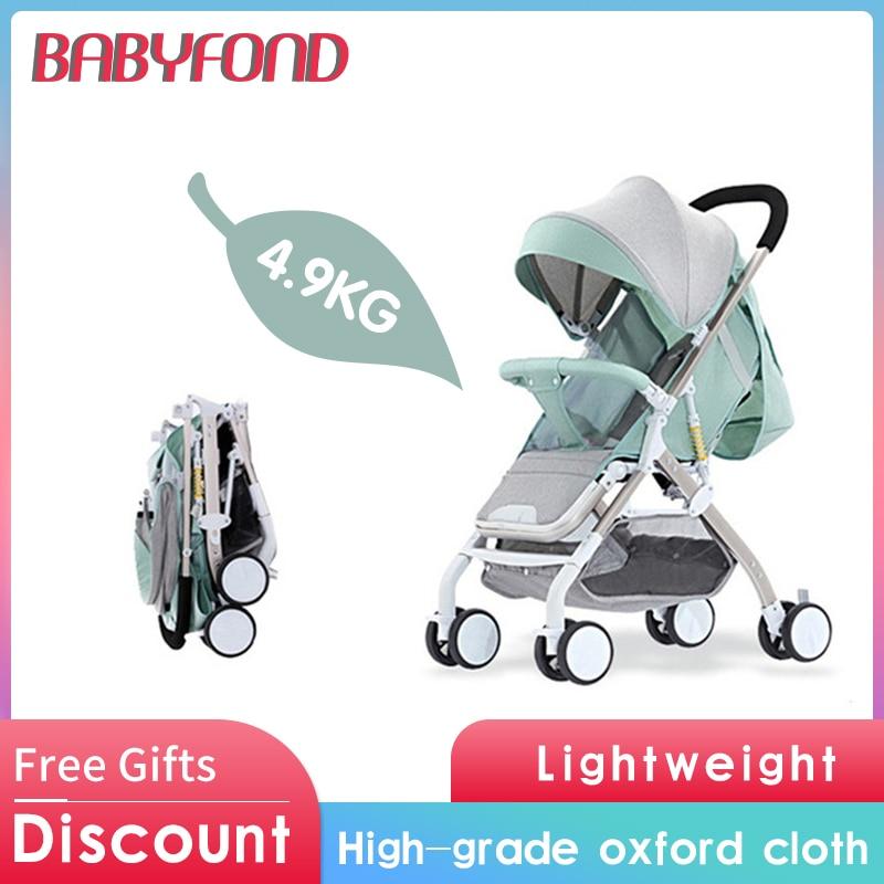 Free Ship! Many Gifts 5.9kg Super Light Baby Stroller Single Pram Folding Baby Car Umbrella Aluminium Alloy Frame Send Rain Coat