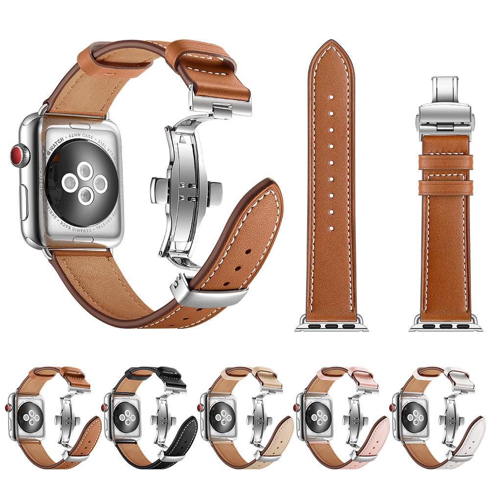 High Quality Leather Band For Apple Watch Series 4 44mm 40mm Silver Butterfly Clasp Wrist Bracelet Strap For IWatch 3/2/ 42 38mm