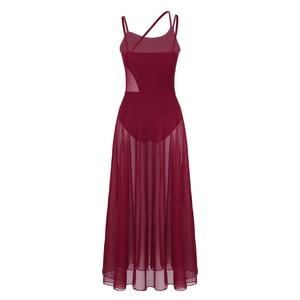 Image 2 - Womens Spaghetti Strap Sleeveless Asymmetrical Mesh Maxi Dance Dress with Built In Leotard Lyrical Performance Dance Class Dress