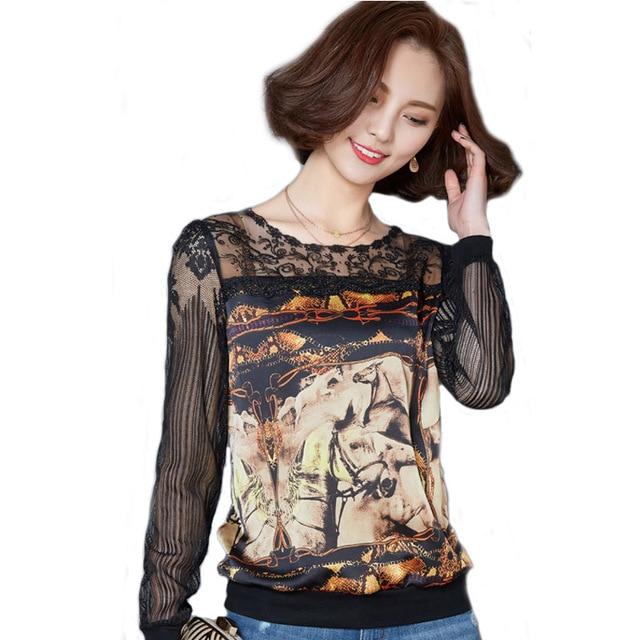 2018 Plus Size Lace Blouses Women Fashion Winter Autumn Horse Print Chiffon Tops Shirt Vintage Loose Blusa Feminina Long Sleeve