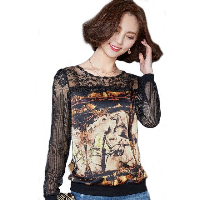 dd4c36d3baf12c 2018 más tamaño de encaje blusas mujeres moda Otoño Invierno caballo  impresión gasa Tops femenina Blusa