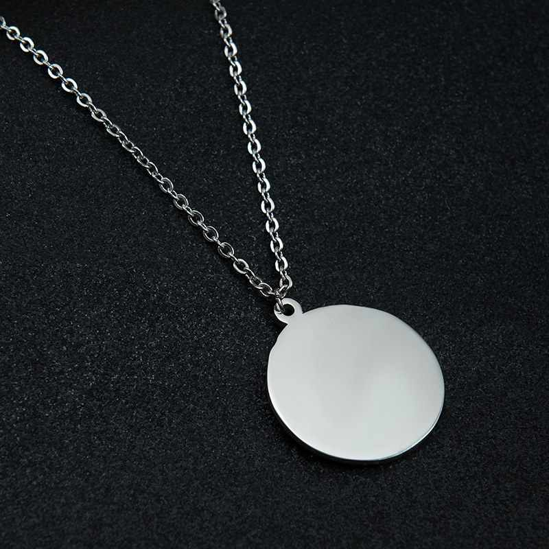 Blank Round Shape Stainless Steel Mirror Polish Charms Men Women Pendant with Beads Chain for DIY Engraved Necklaces Keychains