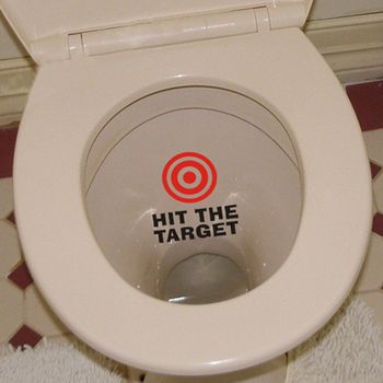 hit the target waterproof funny toilet sticker-Free Shipping Bathroom Stickers Wall Stickers With Quotes