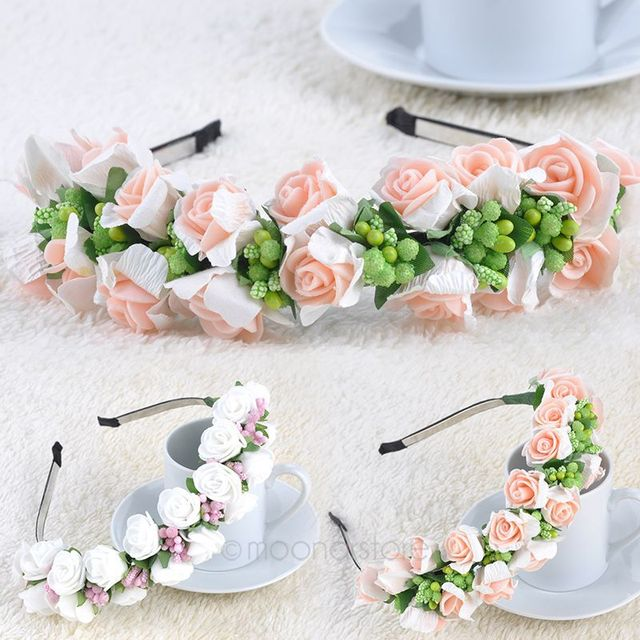 Pinkwhite Flower Garland Boho Floral Headband Headwear Garland
