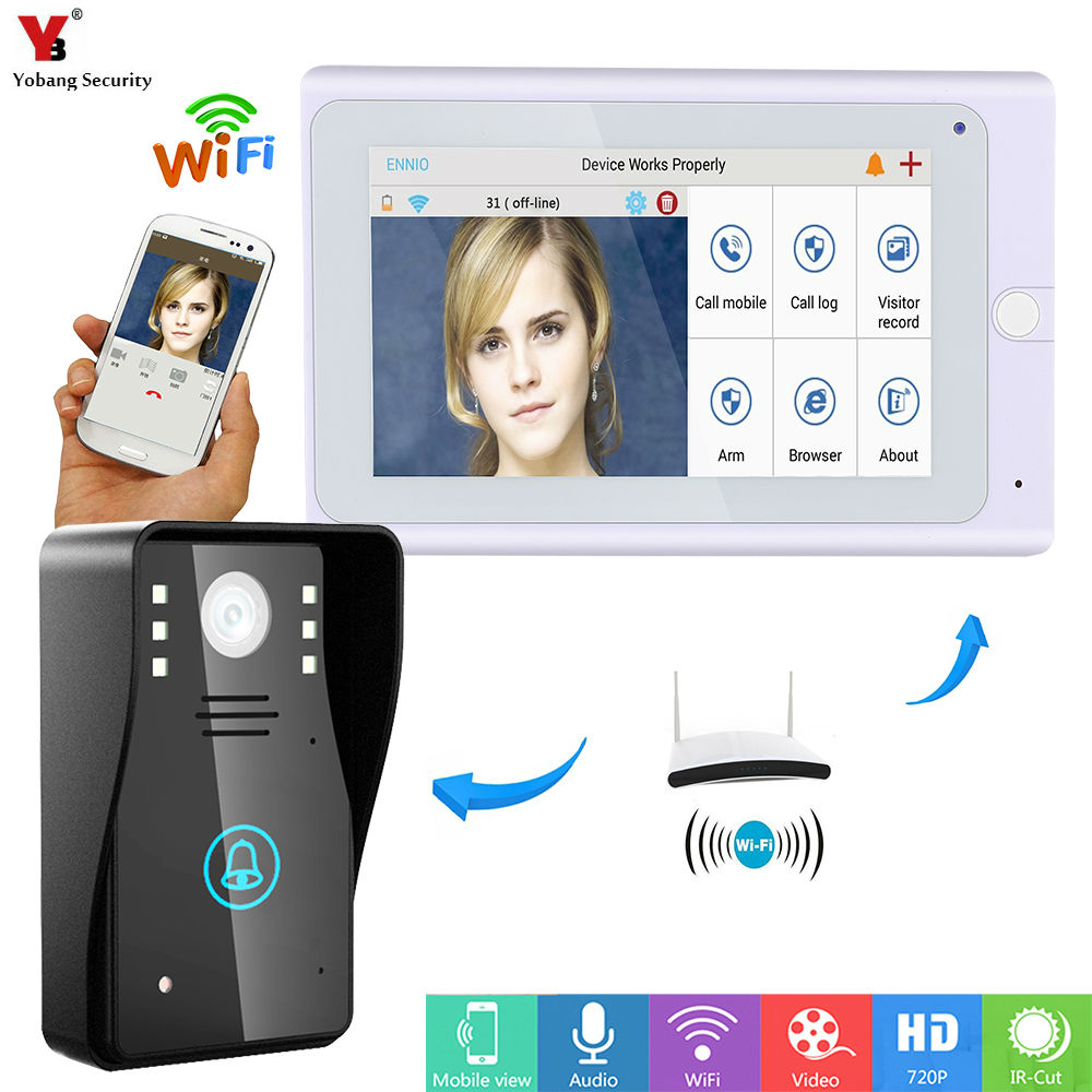 Yobang Security 7 WiFi Wireless Video DoorPhone intercom Doorbell IP Camera PIR IR Night Vision with 1 monitor 1 Outdoor camera