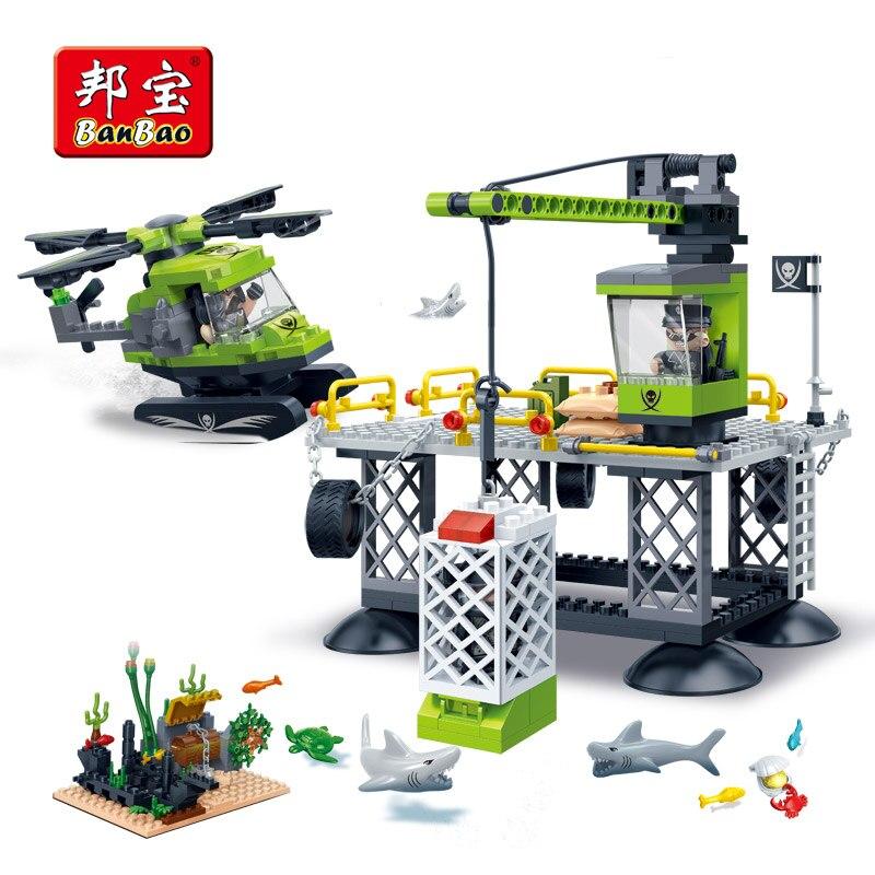 BanBao Exploration de la mer hélicoptère Base de requin blocs de construction briques éducatives enfants enfants jouets modèle 7405 Compatible legoe