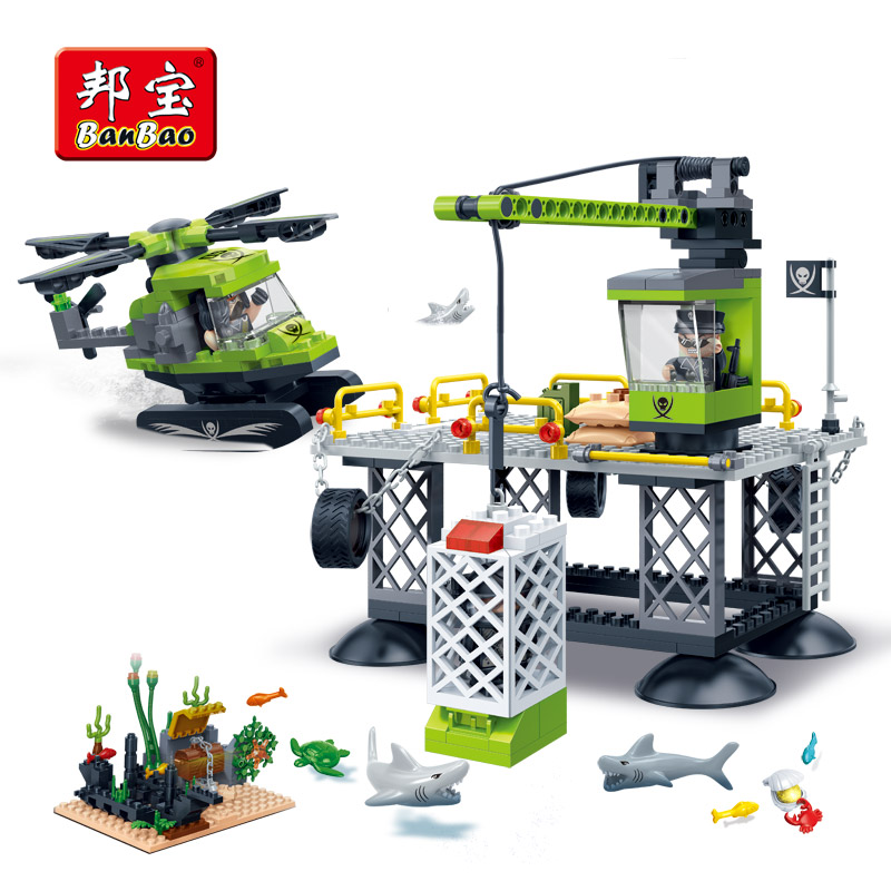 BanBao Sea Exploration Helicopter Shark Base Building Blocks Educational Bricks Children Kids Toys Model Compatible With legoe easyway sea life gray shark great white shark simulation animal model action figures toys educational collection gift for kids