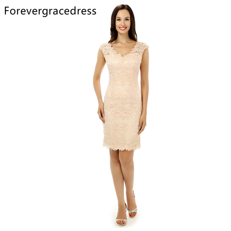 Forevergracedress 2018 Lace Cocktail Dress Sexy V Neck Sleeveless Backless With Zipper Short Party Gown Plus Size Custom Made