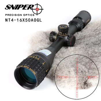 SNIPER NT 4-16X50 AOGL Avcılık Riflescopes Taktik Optik Sight Tam Boy Cam Etched Reticle RGB Işıklı Tüfek Kapsam
