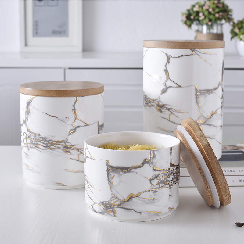 Nordic Ceramic Storage Tank Wooden Cover Jar Dried Fruit Candy Food Miscellaneous Grains Tea Office Desk Storage Cans Organizer