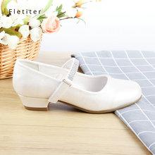 Princesa Crianças Sapatos de Couro Genuíno Para Meninas de Cristal Glitter Crianças 2.5 cm Salto Baixo Casuais Meninas Sapatos de Festa Branco Fletiter