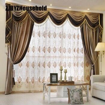 Cortinas De Terciopelo De Lujo Estilo Europeo Engrosamiento Color - Cenefas-para-cortinas-de-sala