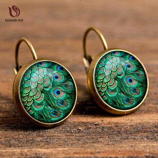 DANZE Bohemia Glass Cabochon Peacock Big Earrings for Women Fashion Ethnic Green