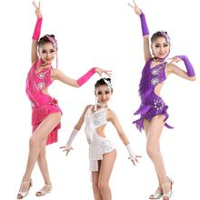 цена New Latin Dress Kids Fringe Ballroom Tango Samba Salsa Dance Competition Dresses Sale Dance Wear Latin Dance Dress For Girls