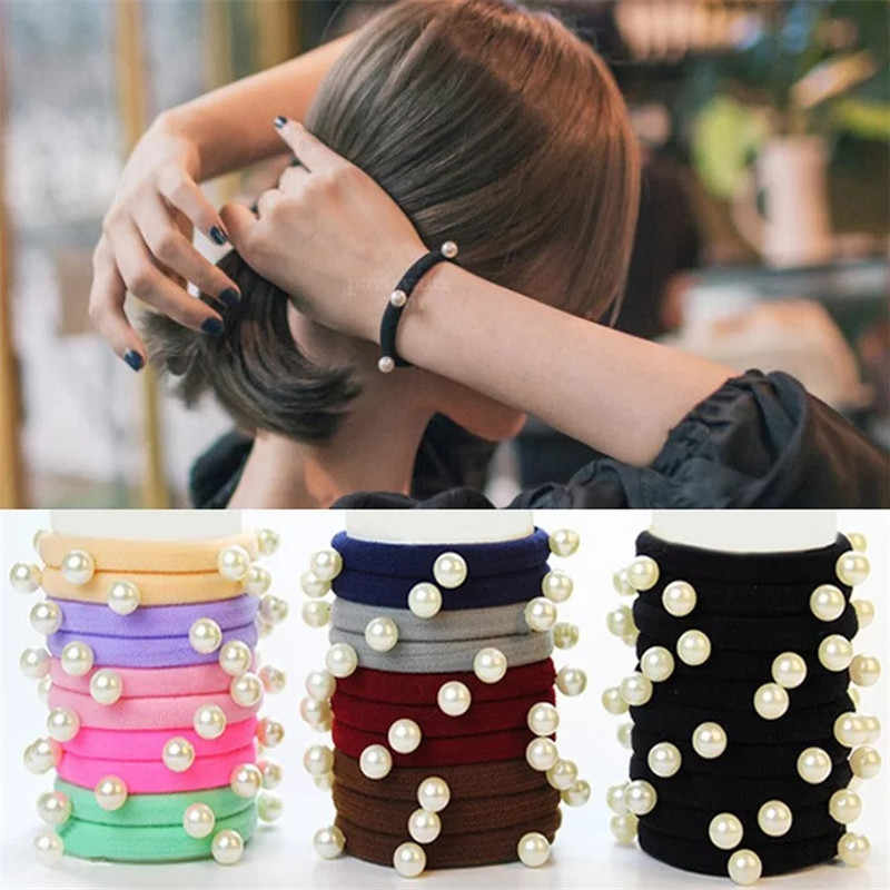 10 Pcs Multi-pearl Candy Color Elastic Hair Ties Girls' Ponytail Holder Women Hair Accessories