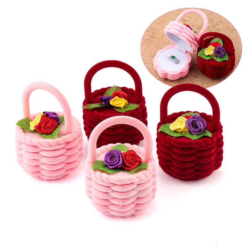 1 Piece Cute Flower Basket Velvet Wedding Engagement Ring Box Gift Box Holder For Earrings Necklace Display Jewelry Case
