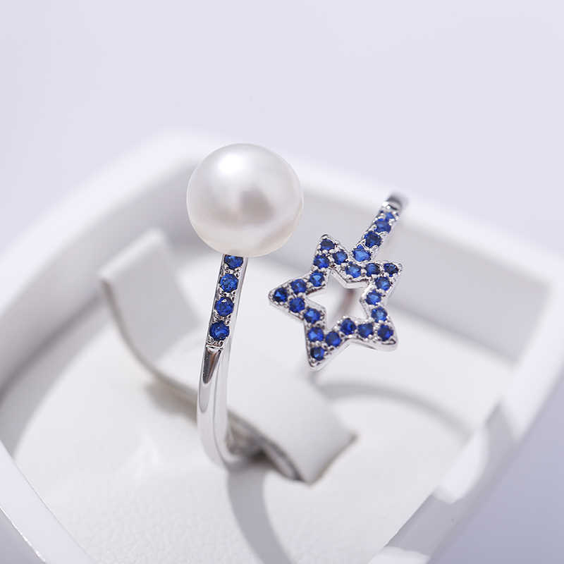 2019 Sale Five Pointed Star Ring 7-8mm Freshwater Pearl 925 Silver Ring Jewelry Gift For W