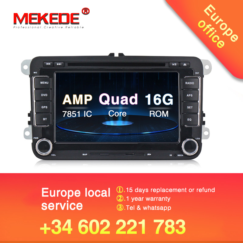 Android 8.1 voiture DVD GPS Navigation 1024*600 Quad Core pour VW Volkswagen Skoda POLO GOLF 5 6 PASSAT JETTA TIGUAN TOURAN Caddy